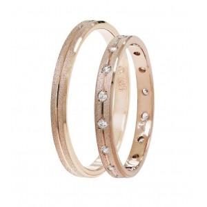 Βέρες Γάμου Ροζ Χρυσός Στεργιάδης SAT01 Κ9 Κ14 ή Κ18 2.50 χιλ.