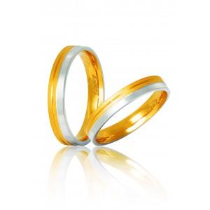 Βέρες Γάμου Δίχρωμες Χρυσές Στεργιάδης s1 Κ9 Κ14 ή Κ18 3.00 χιλ.