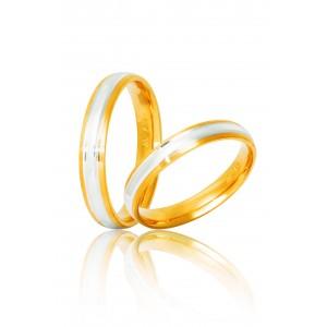 Βέρες Γάμου Δίχρωμες Χρυσές Στεργιάδης S13 Κ9 Κ14 ή Κ18 3.50 χιλ.