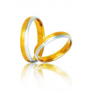 Βέρες Γάμου Δίχρωμες Χρυσές Στεργιάδης S33  Κ9 Κ14 ή Κ18 3.50 χιλ.