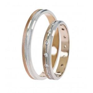 Βέρες Γάμου Δίχρωμες Ροζ Χρυσός Στεργιάδης SAT02 Κ9 Κ14 ή Κ18 2.50 χιλ.