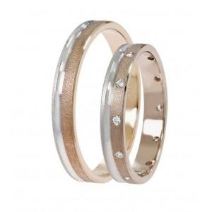Βέρες Γάμου Δίχρωμες Ροζ Χρυσός Στεργιάδης SAT03 Κ9 Κ14 ή Κ18 3.00 χιλ.
