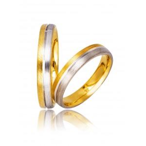 Βέρες Γάμου Δίχρωμες Στεργιάδης 730 Κ9 Κ14 ή Κ18 4.00 χιλ.